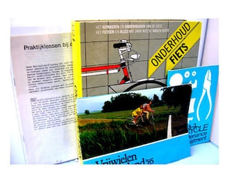 Vintage book Onderhoud Fiets bicycle manual Dutch language 1985 English bicycle guide cycling magazine plus booklets birthday gift 267