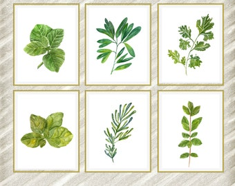 "Watercolor herbs print: ""HERB POSTERS"" Kitchen Wall Decor botanical kitchen prints Kitchen Printable Herbs Kitchen Herb kitchen art set of 6"