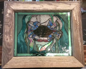 Stained glass Blue Crab framed in Antique window