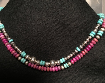 Sterling Silver and turquoise Mixed stone necklace
