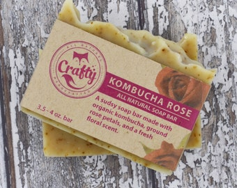 Kombucha Rose Soap Bar All Natural Soap Organic Soap Homemade Soap Vegan Soap Cold Process Soap Essential Oils Bar Soap Fathers Day