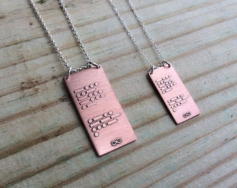 CUSTOM personalized Morse code necklace in copper and sterling silver | custom gift for him or her | Mother's Day