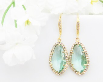 Bridesmaids Gift, Crystal Earrings, Aquamarine Earrings, Aquamarine Jewelry, Mothers Day Gift, Gift for Wife, March Birthstone, Gift for Mom