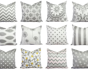 Grey Pillow Covers Grey and White - Custom Grey Pillow Covers - Throw Pillow Cushion Cover Accent Pillow - Grey Throw Pillows