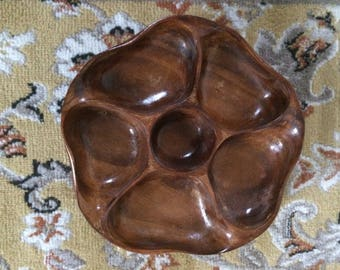 Abstract Floral Wooden Divided Tray Hand Carved Wood Organic