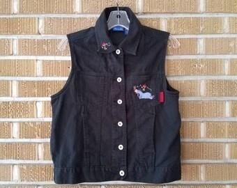 90s Winnie the Pooh Eeyore black denim vest