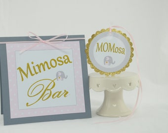 Mimosa Bar Sign, MOMosa Tag, Elephant Theme, Baby Shower