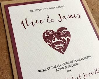 Heart wedding invitation and matching RSVP