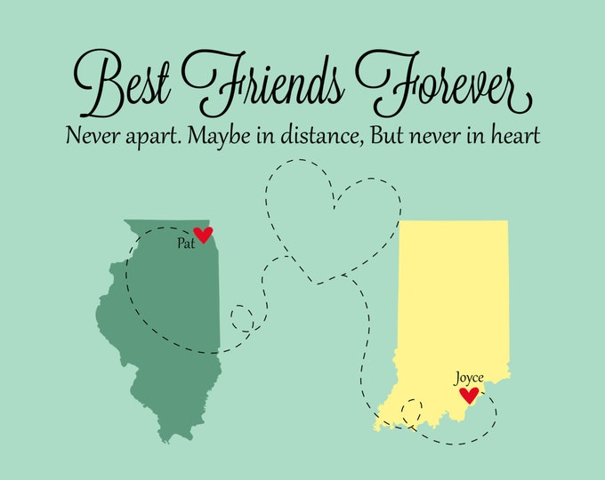 Best Friends Christmas Gifts, Best Friends, Best Friend Long Distance, Personalized State Map, Friendship Quote, Going Away, Sorority Sister