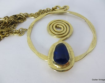 70s Boho Necklace Rafael Canada Modernist Brutalist Gold Plated Coiled Pendant Necklace  Rafael 1970s, OOAK