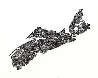 Nova Scotia Map Floral Design Black and White 8x10 Print