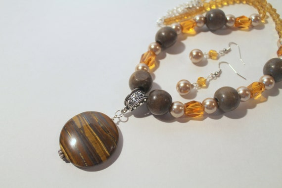 JKCE Designs Shades of Brown with Brown Stone Pendant OOAK Beaded Necklace and Earring Set, Upcycled Jewelry, Assemblage Jewelry Gift