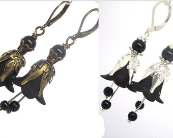 """Fairy Jewelry Black Fairy Earrings """"Belladonna of the Unseelie Court Bad Fae"""" Gothic Fantasy"""