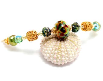 Green Lampwork Glass Bead Necklace. Leprechaun Necklace. Artisan Glass Beads. Gold Bali Beads. Lampwork Jewelry. Gifts For Her.