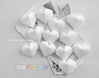 pick YOUR color 12 origami balloon hearts | white wedding hearts | bridal shower decors | origmai gifts || white heart favors -cotton white