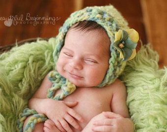 Girl Newborn Bonnet Baby Boy Photo Prop Organic Infant Green Hand Knit Pixie Shower Gift Going Home Hat Coming Photography Outfit  Spring