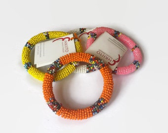 Maasai bangle masai authentic real handmade in Kenya Africa tribal colourful big bright bracelet cuff leather beads beaded