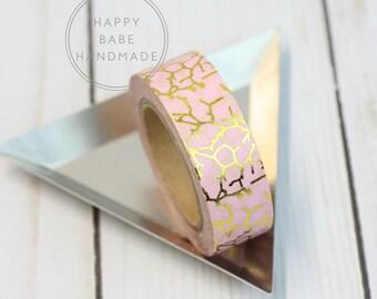 """Pink & Gold Washi Tape, 9/16"""", 10 Yds, Metallic Washi Tape, Branches Washi Tape, Pink Washi Tape, Decorative Tape, Gold Washi Tape, Washi"""