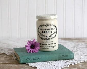 Vintage Dundee Orange Marmalade Jar with Lid, Milk Glass Jar, James Keiller and Son Ltd Jar, Made in Great Britain