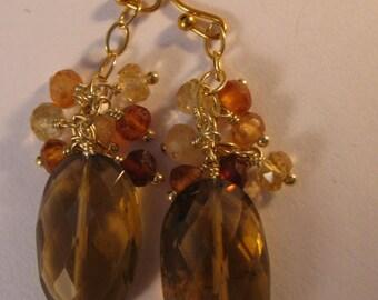 Gemstone Cluster Earrings,gemstone earrings, gold earrings, cluster earrings, hessonite earrings, dangle earrings, drop earrings, earrings