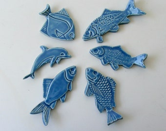 Ceramic knife Rests, Hand Made Set of Six, Blue Fish