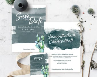 Watercolor desert cactus succulent wedding suite, invitation, and rsvp Deep Blue ~ Custom ~ Printable