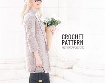 CROCHET PATTERN ⨯ Peacoat Jacket Cardigan ⨯ Fashion Crochet Coat Cardi, Crochet Pattern ⨯ Easy Crochet Pattern, Peacoat Coat Crochet Pattern
