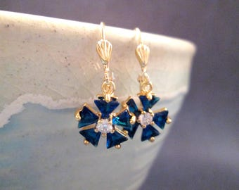 Cubic Zirconia Flower Earrings, Sapphire Blue Rhinestone Blossoms, Gold Dangle Earrings, FREE Shipping U.S.