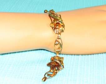 Van Dell 12K 1/20 Gold Filled Bracelet Yellow And Rose Gold - Very Good Condition - 7-1/2 Inches Long - FREE SHIPPING.