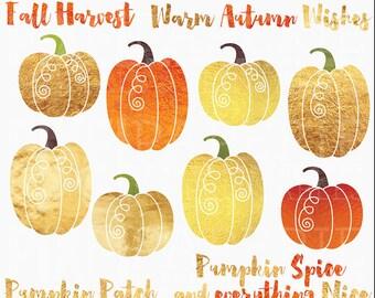 pumpkin clipart foil digital clip art - Foil Pumpkins Digital Clipart - BUY 2 GET 2 FREE