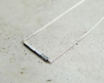 Silver necklace, stone, silver necklace, bar necklace, minimalist necklace, Hematite