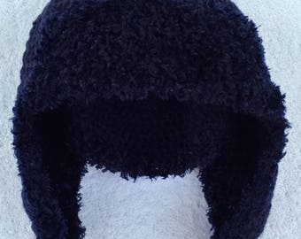 Navy Crocheted Tassel Adult Hat With Earflaps.