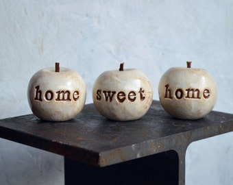 Christmas home sweet home apples / gift for mom mother grandma her / Handmade clay housewarming or welcome home gift / country home decor
