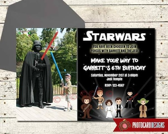 Star Wars Invitation, Star Wars Birthday Photo Invitation, Star Wars Birthday, Starwars Party, Party, Picture, Boy, Digital, Print, invite