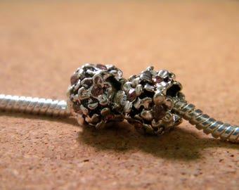 bead charms-European flower heart pale pink rhinestones - 11 x 8 mm Pearl European C70-5