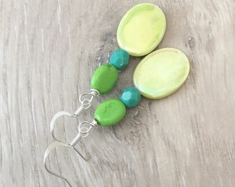 Green Dangle Earrings Tropical Earrings Lime Green Earrings Green Shell Earrings Beachy Earrings Green Seashell Earrings Lime Earrings Green