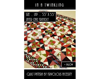 Quilt Pattern PDF and Matching Pillow Pattern In A Twinkling-- Layer Cake Friendly