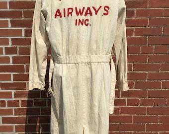"Vintage 1950s Wiggins Airways White Mechanics Shop Coat, Embroidered Mens Workwear, Airline Uniform, Airline Memorabilia, Chest 44"""