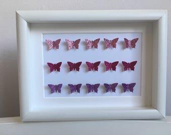 Glitter butterfly frame....pink glitter and purple glitter butterflies. handmade