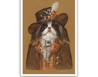 Japanese Chin. The Voyager / Japanese Chin Dog Art Print / Dandy Dog Portraits of Animal Century