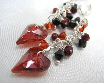 Swarovski Wild Heart Earrings in Red Magma and Black on Sterling Silver