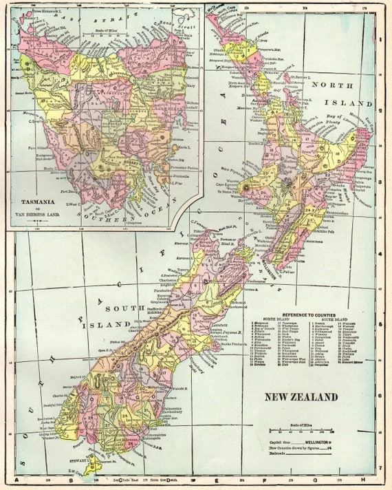 1902 Antique NEW ZEALAND Map Of New Zealand Print Over 100