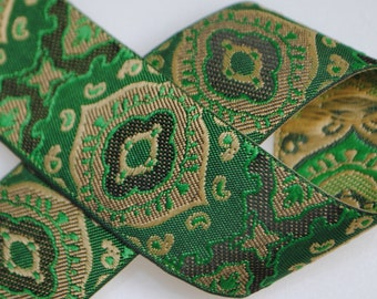Geometric Medallion Woven Jacquard Trim 1 inch wide - Two, Five, or Ten Yards