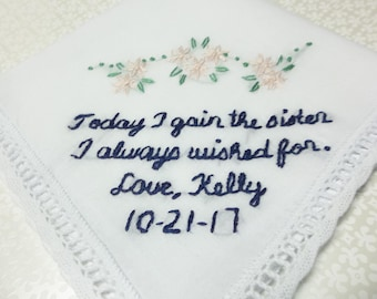 sister in law , wedding handkerchief, hand embroidered, sister i wished for, family gift, navy and pink, sister gift, wedding hanky,