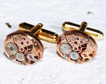 OMEGA Steampunk Cufflinks -Genuine Omega Luxury Swiss Vintage Watch Movement Matching Men Steampunk Cufflinks Cuff Links Fathers Day Gift