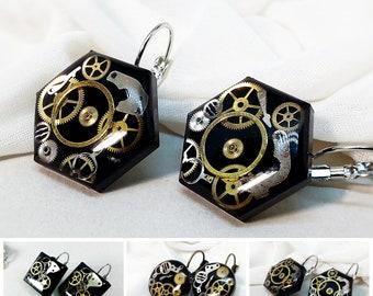 Black Steampunk earrings, Steampunk jewelry, Resin steampunk earrings, Vintage watchparts earrings, Steatement earrings,