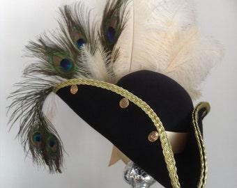 Steampunk French navy blue pirate  tricorn hat