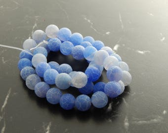 Navy Blue frosted agate 8mm 10 beads