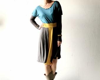Long sleeve dress, Jersey dress, Blue dress, Yellow dress, Tshirt dress, Tunic dress, Womens clothing, Maternity dress, Plus size, day dress