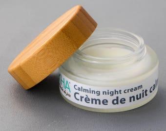 Soothing night cream, facial night cream, coconut and grape facial cream, vegan facial cream, rose moisturizing cream, anti-aging, organic